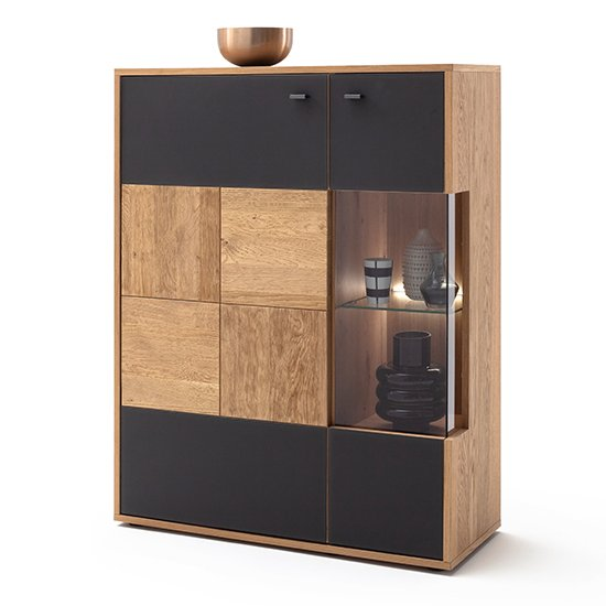 View Valencia led wooden highboard in bianco oak and anthracite
