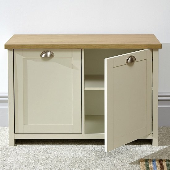 Valencia Wooden Shoe Cabinet In Cream And Oak With 2 Doors_2