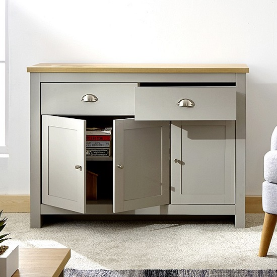 Valencia Wooden Sideboard In Grey With 3 Doors And 2 Drawers_2