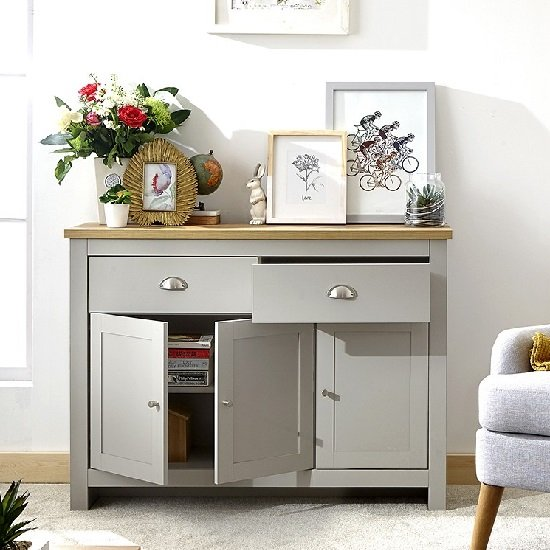 Valencia Wooden Sideboard In Grey With 3 Doors And 2 Drawers_3