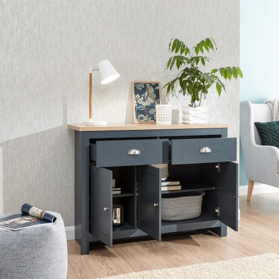 Valencia Sideboard In Slate Blue And Oak With 3 Doors 2 Drawers_2