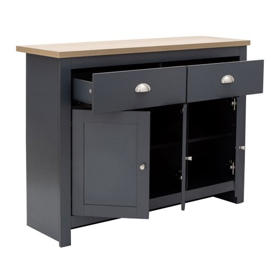 Valencia Sideboard In Slate Blue And Oak With 3 Doors 2 Drawers_4