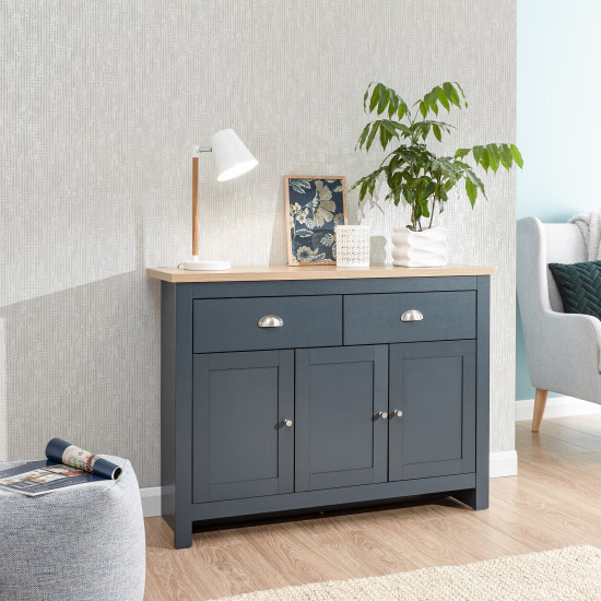 Valencia Sideboard In Slate Blue And Oak With 3 Doors 2 Drawers_1