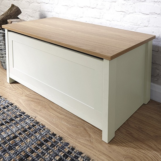 Valencia Storage Blanket Box In Cream With Oak Effect Top_1