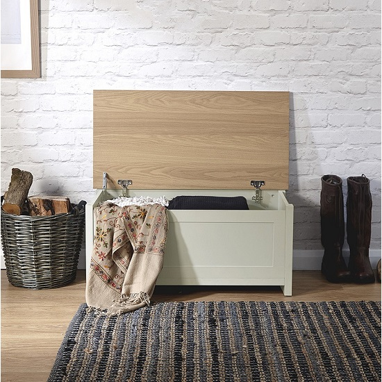 Valencia Storage Blanket Box In Cream With Oak Effect Top_3