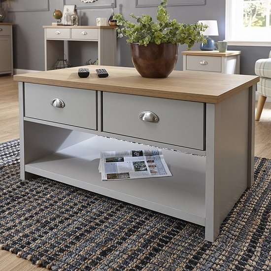 Valencia Wooden Coffee Table Rectangular In Grey With 2 Drawers