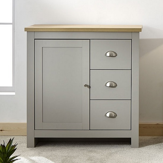 Valencia Wooden Storage Unit In Grey And Oak With 3 Drawers_1