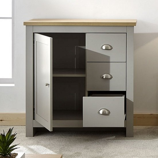 Valencia Wooden Storage Unit In Grey And Oak With 3 Drawers_2