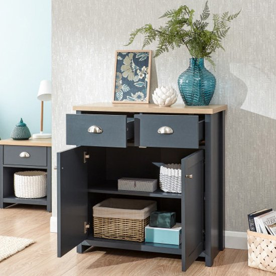 Valencia Wooden 2 Doors Compact Sideboard In Slate Blue And Oak_2