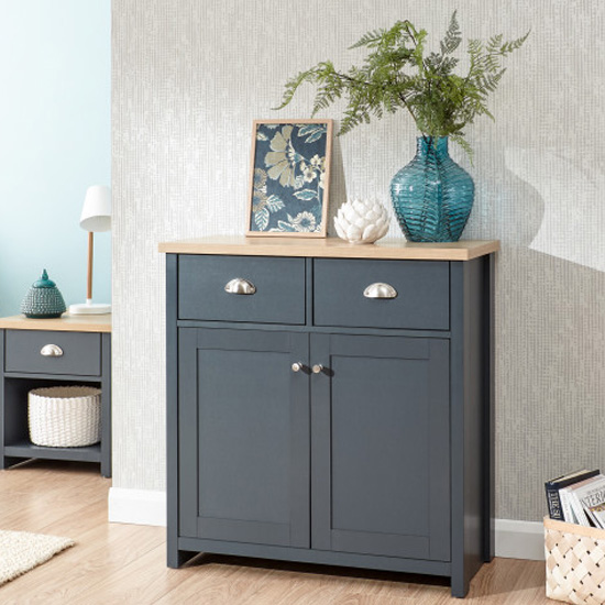 Valencia Wooden 2 Doors Compact Sideboard In Slate Blue And Oak_1