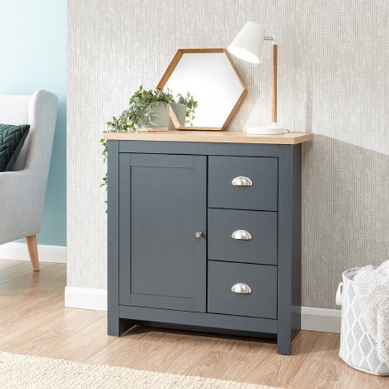 Valencia Wooden 3 Drawers Storage Unit In Slate Blue And Oak