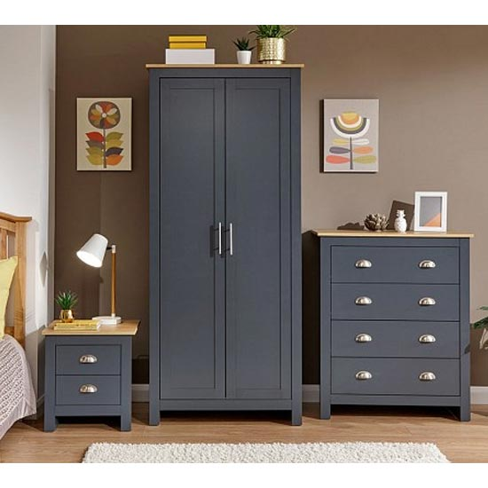 Valencia Wooden 3Pc Bedroom Furniture Set In Blue