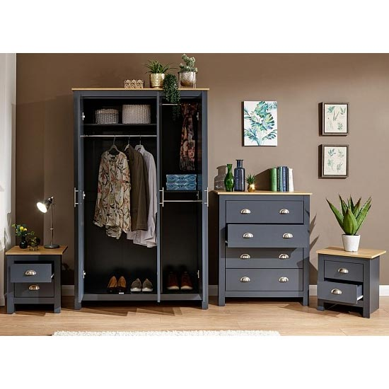 Valencia Wooden 4Pc Bedroom Furniture Set In Blue_2