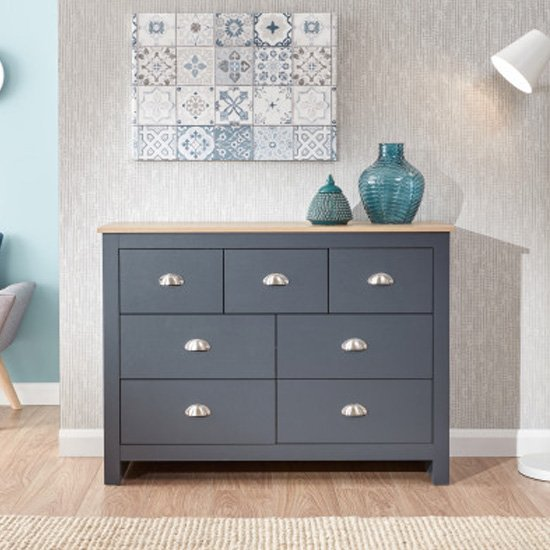Valencia Wooden Chest Of Drawers Wide In Salte Blue And Oak