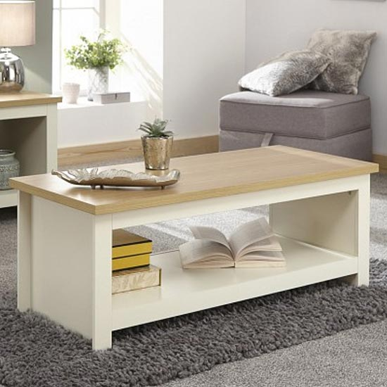 Valencia Wooden Coffee Table With Shelf In Cream