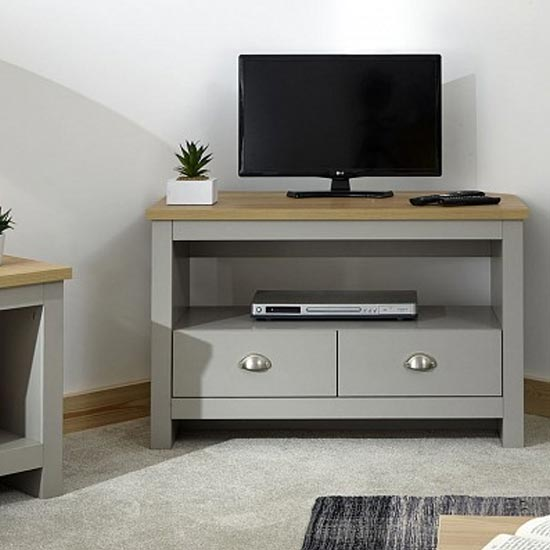 View Valencia wooden corner tv stand in grey with 2 drawers