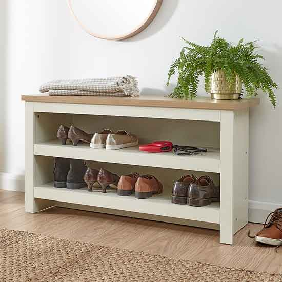 View Valencia wooden shoe bench in cream and oak
