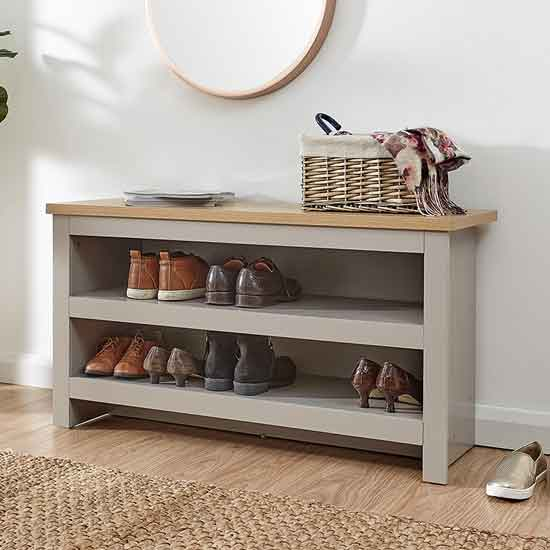 View Valencia wooden shoe bench in grey and oak