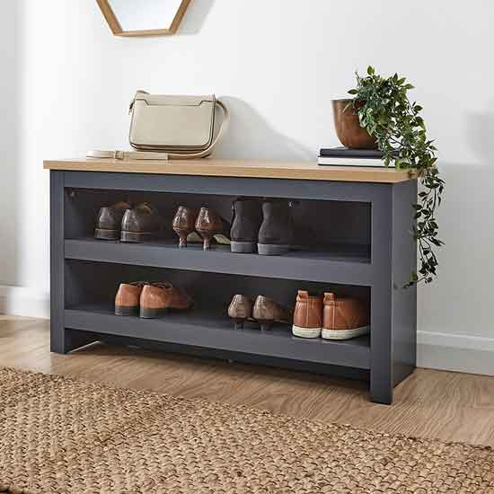 View Valencia wooden shoe bench in slate blue and oak