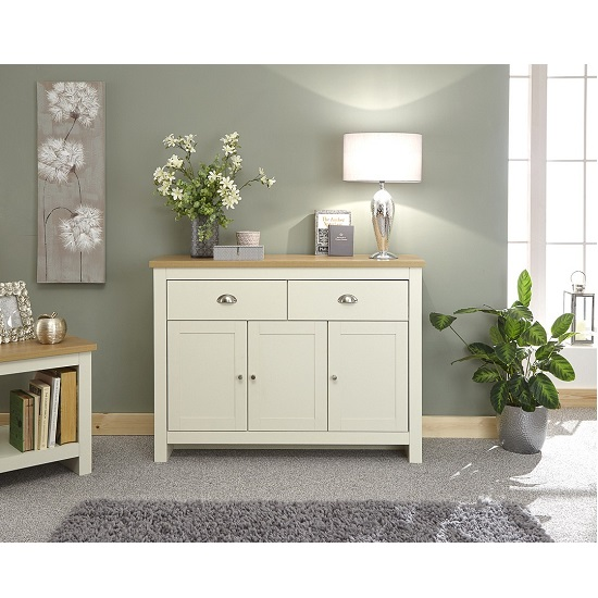 Valencia Wooden Sideboard In Cream With 3 Doors And 2 Drawers_1