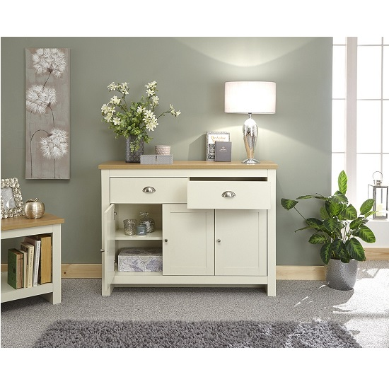 Valencia Wooden Sideboard In Cream With 3 Doors And 2 Drawers_2