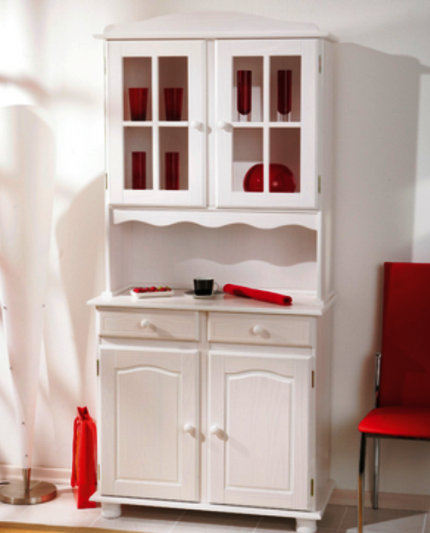 Valencia White Wood Kitchen Display Cabinet