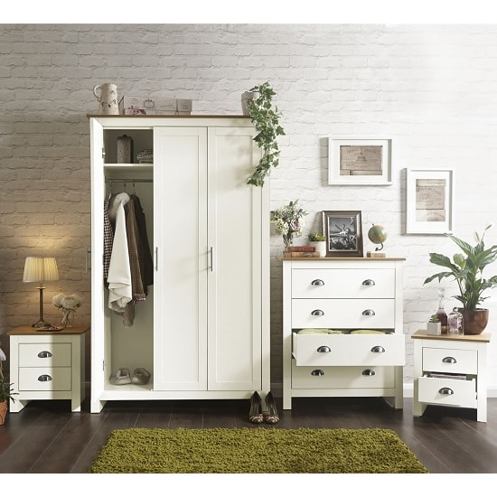 Valencia Wooden Bedroom Furniture Set In Cream With Oak Top_2