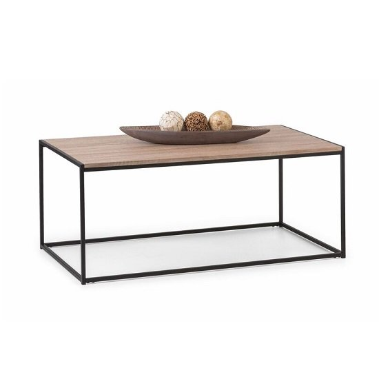 Valencia Coffee Table In Sonoma Oak And Black Metal Frame_1