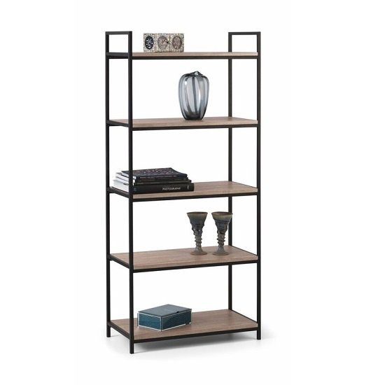 Photo of Valencia high bookcase in sonoma oak and black metal frame