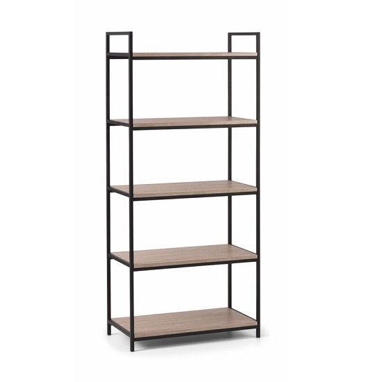 Valencia High Bookcase In Sonoma Oak And Black Metal Frame_2