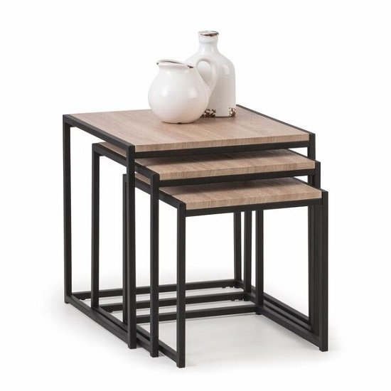 Valencia Nest Of Tables In Sonoma Oak And Black Metal Frame_1