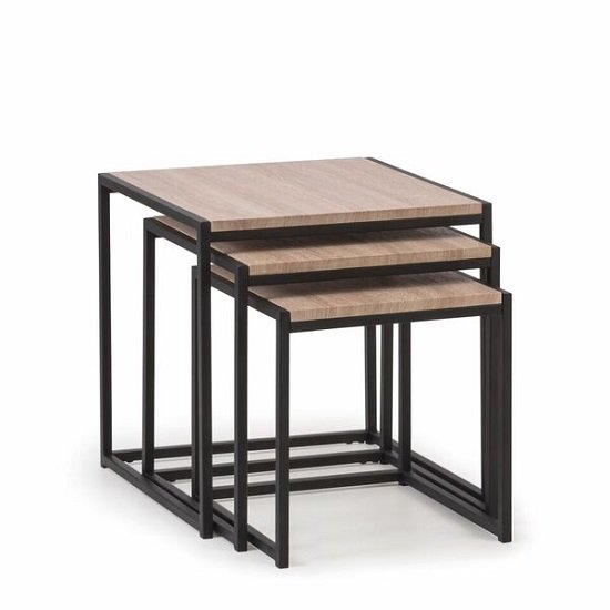 Valencia Nest Of Tables In Sonoma Oak And Black Metal Frame_2