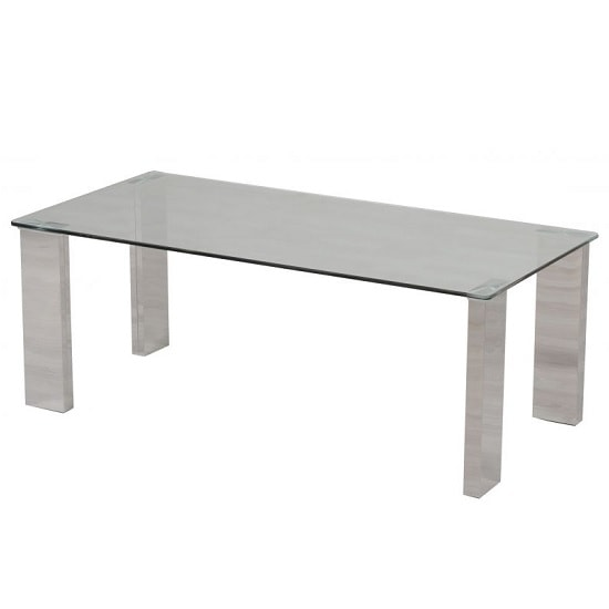 Valencie Glass Coffee Table In Clear With Polished Steel Base