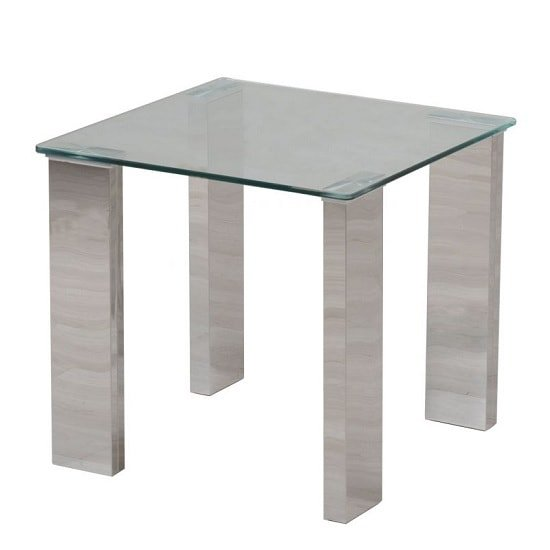 Valencie Glass Side Table In Clear With Polished Steel Base