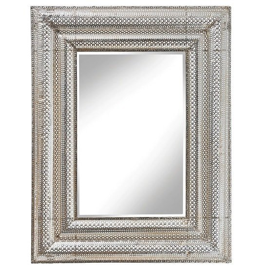 Valentina Wall Mirror Rectangular In Silver Mesh Motifs