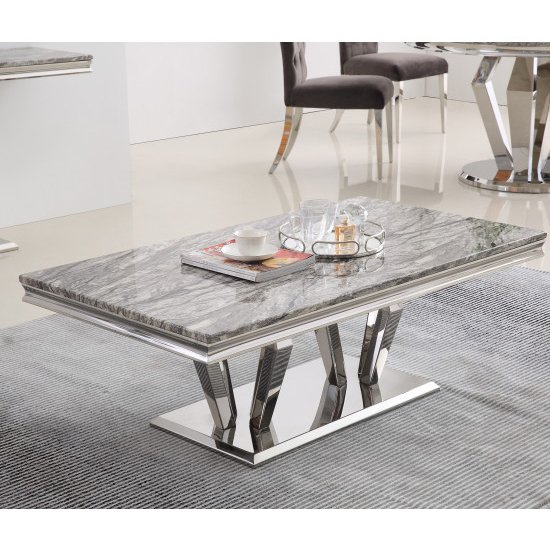 Valentino Grey Marble Coffee Table With Silver Steel Legs