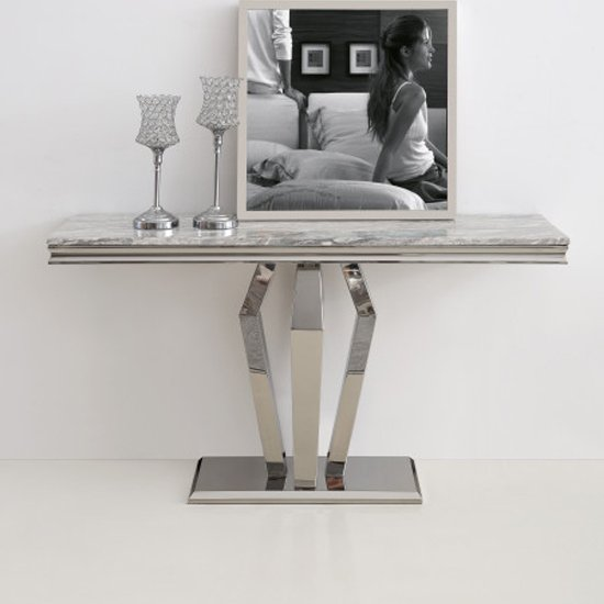 Valentino Grey Marble Console Table With Silver Steel Legs