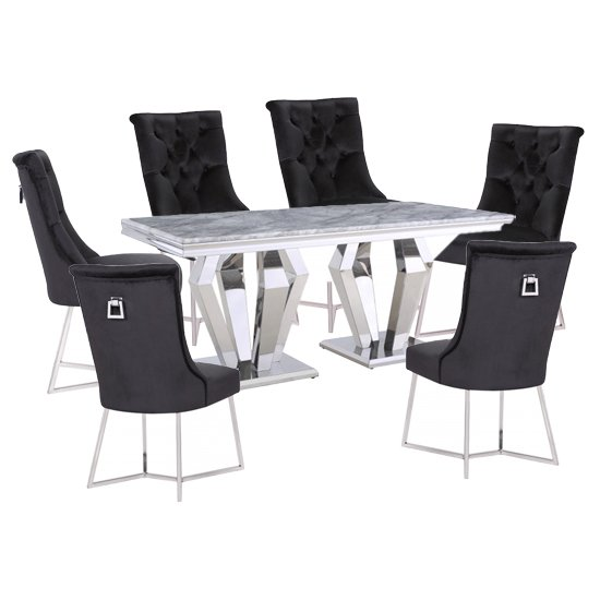 Valentino Grey Marble Dining Set With 6 Black Bari Chairs