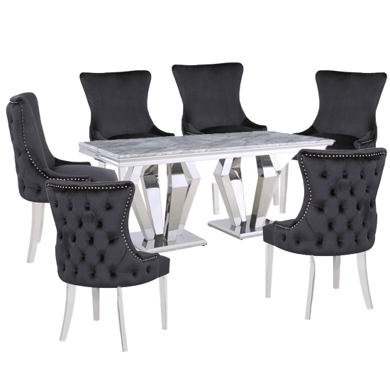 Valentino Grey Marble Dining Set With 6 Black Leo Chairs