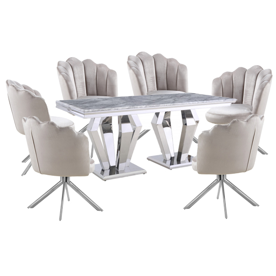 Valentino Grey Marble Dining Set With 6 Beige Mario Chairs