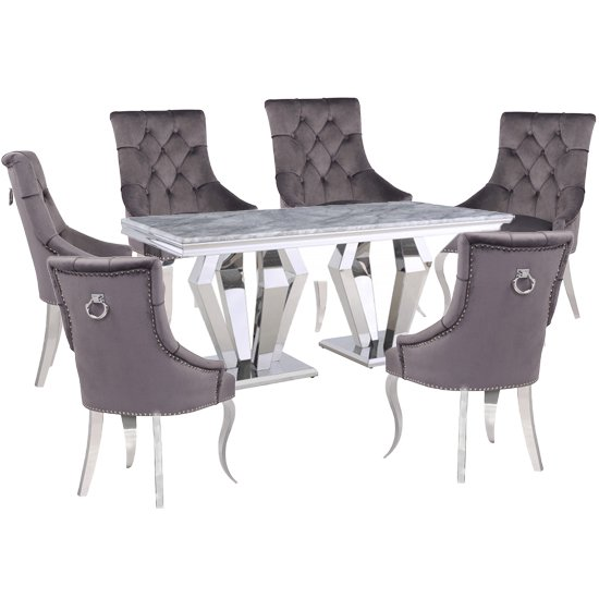 Valentino Grey Marble Dining Set With 6 Dark Grey Angelo Chairs