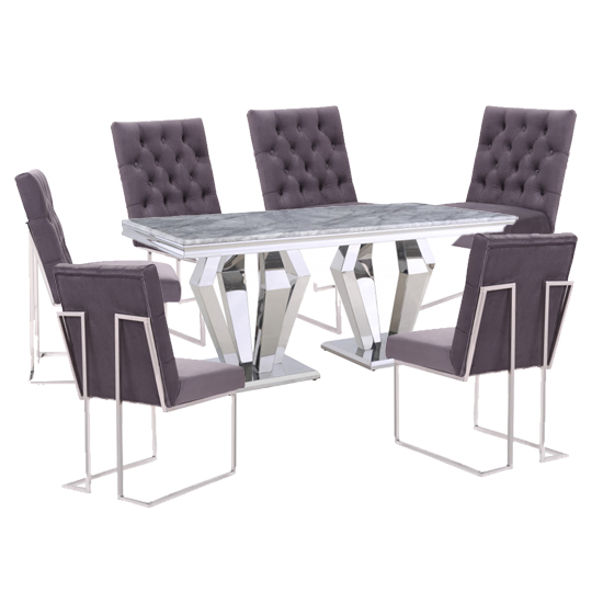 Valentino Grey Marble Dining Set With 6 Dark Grey Dino Chairs