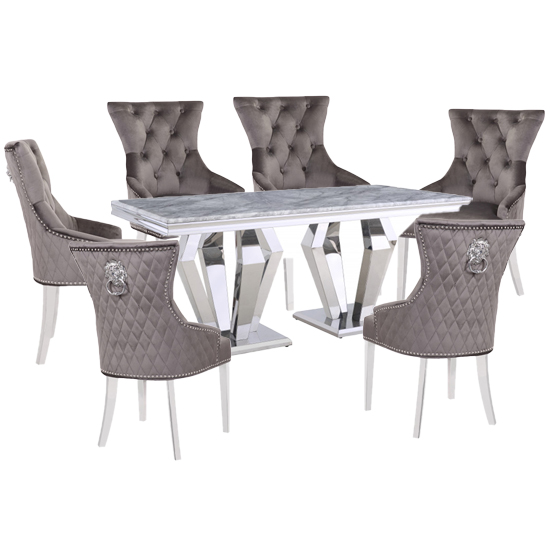 Valentino Grey Marble Dining Set With 6 Grey Madison Chairs