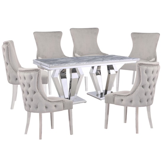 Valentino Grey Marble Dining Set With 6 Light Grey Leo Chairs
