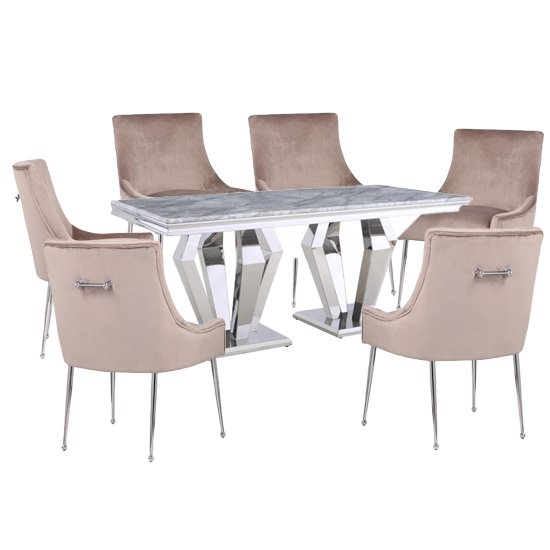 Valentino Grey Marble Dining Set With 6 Taupe Jersey Chairs