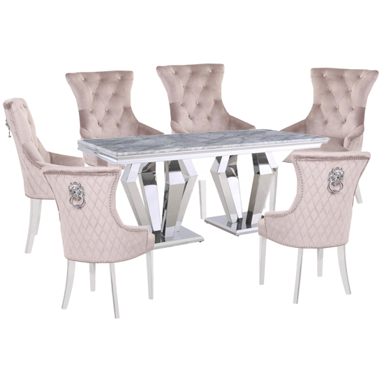 Valentino Grey Marble Dining Set With 6 Taupe Madison Chairs