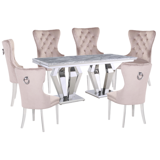 View Valentino grey marble dining set with 6 taupe oxford chairs