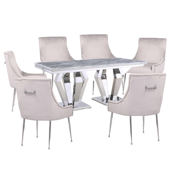Valentino Grey Marble Dining Set With 6 White Jersey Chairs
