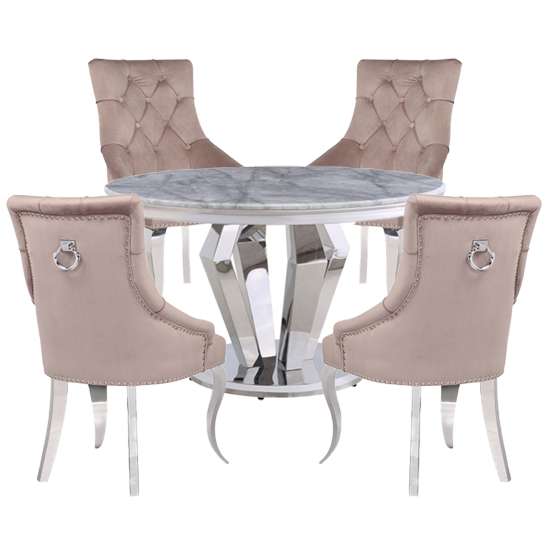 Valentino Marble Dining Set With 4 Angelo Silver Chairs