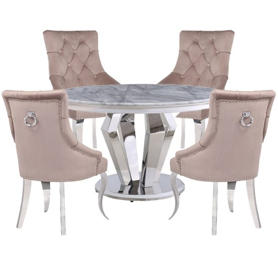 Valentino Marble Dining Set With 4 Angelo Taupe Chairs_1